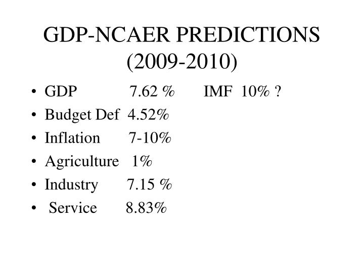 GDP-NCAER PREDICTIONS