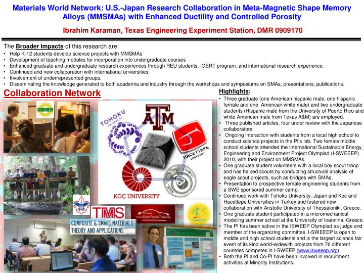 Materials World Network: U.S.-Japan Research Collaboration in Meta-Magnetic Shape Memory Alloys (MMS...