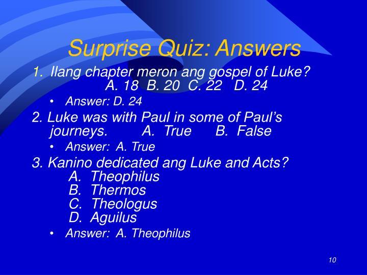 Surprise Quiz: Answers