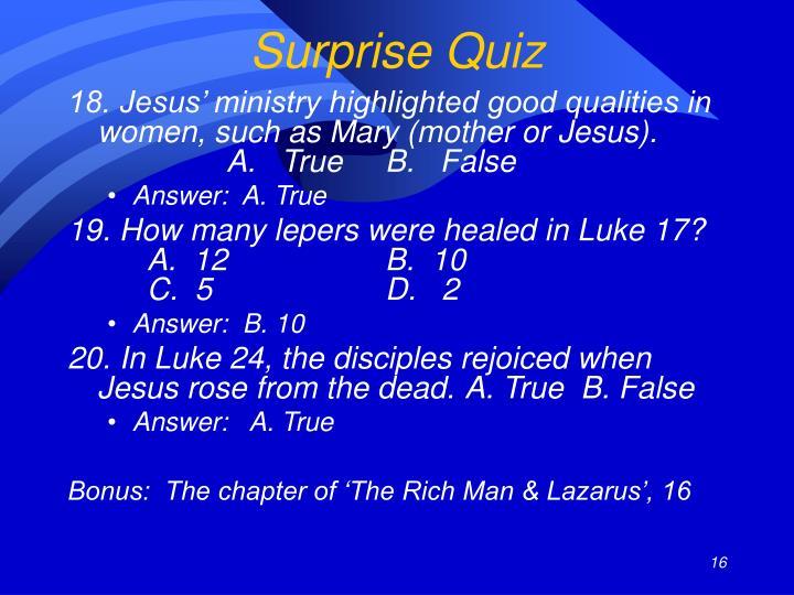Surprise Quiz