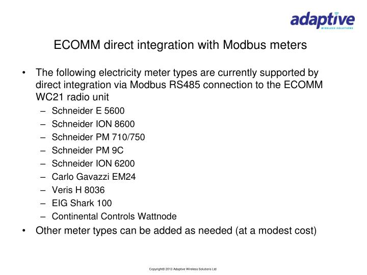 ECOMM direct integration with Modbus meters