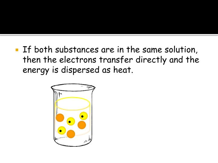 If both substances are in the same solution, then the electrons transfer directly and the energy is dispersed as heat.