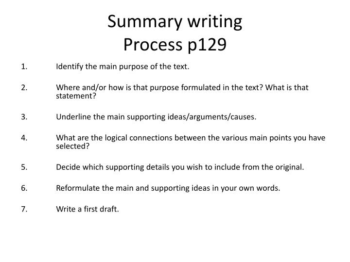 Summary writing process p129
