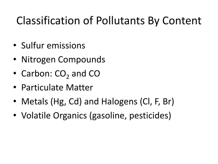 Classification of Pollutants By Content