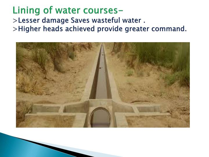 Lining of water courses-