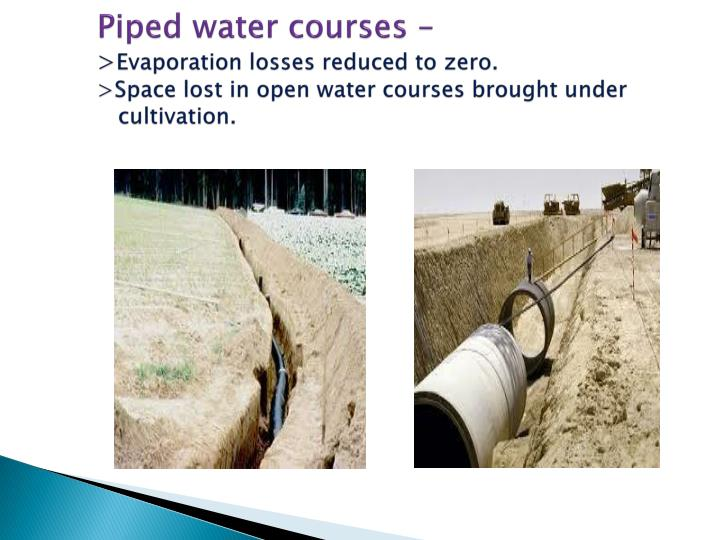 Piped water courses –