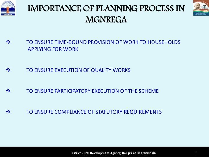 IMPORTANCE OF PLANNING PROCESS IN MGNREGA