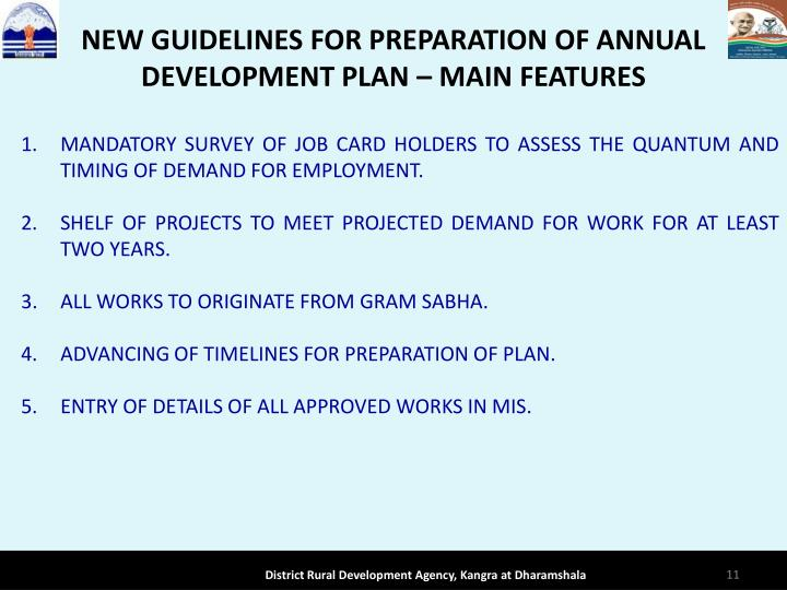 NEW GUIDELINES FOR PREPARATION OF ANNUAL DEVELOPMENT PLAN  MAIN FEATURES