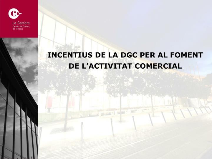 INCENTIUS DE LA DGC PER AL FOMENT DE L'ACTIVITAT COMERCIAL