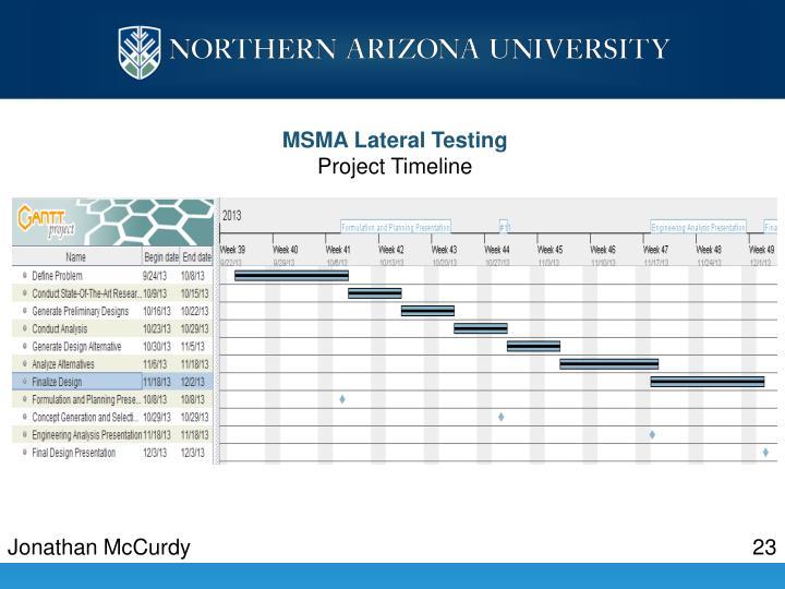 MSMA Lateral Testing