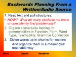 backwards planning from a written audio source