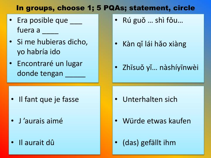 In groups, choose 1; 5 PQAs; statement, circle