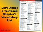 let s adapt a textbook chapter s vocabulary list