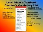 let s adapt a textbook chapter s vocabulary list1
