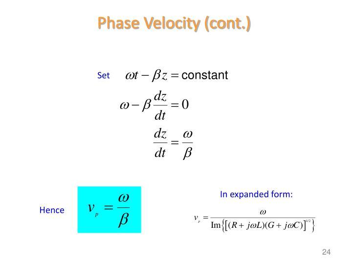 Phase Velocity (cont.)