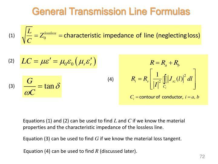 General Transmission Line Formulas