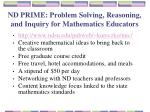 nd prime problem solving reasoning and inquiry for mathematics educators