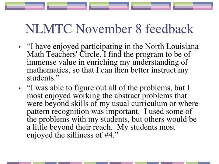 NLMTC November 8 feedback