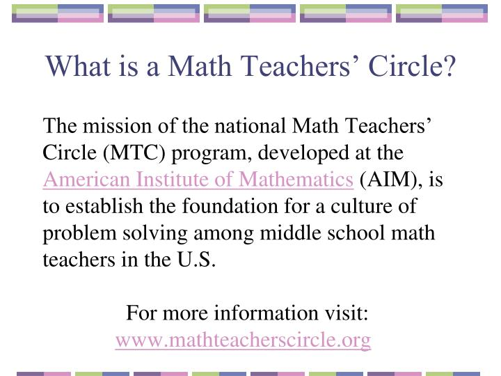 What is a Math Teachers' Circle?
