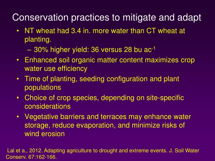Conservation practices to mitigate and adapt