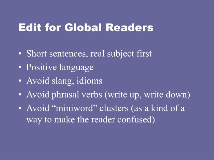 Edit for Global Readers