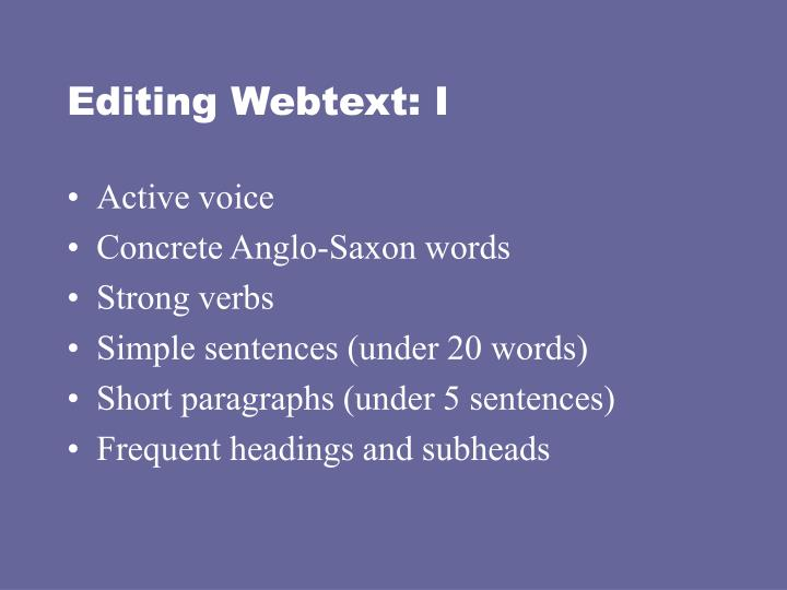 Editing Webtext: I