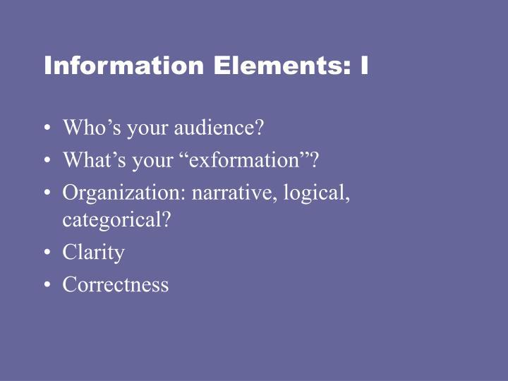 Information Elements: I