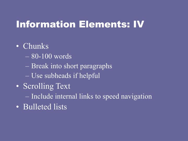 Information Elements: IV