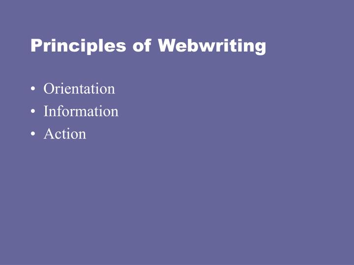 Principles of Webwriting