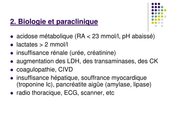 2. Biologie et paraclinique