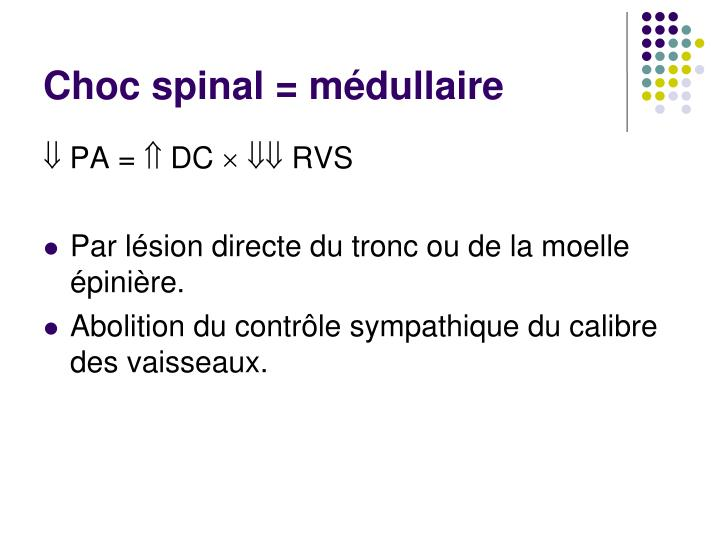Choc spinal = médullaire