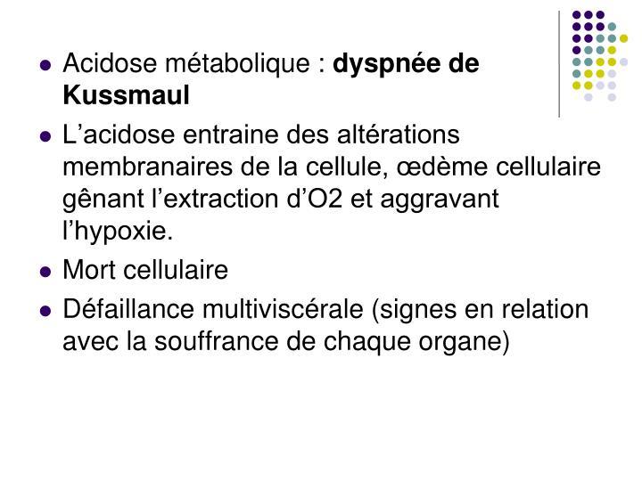 Acidose métabolique :
