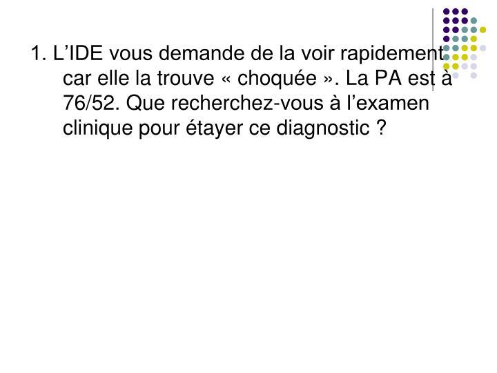 1. L'IDE vous demande de la voir rapidement car elle la trouve «choquée». La PA est à 76/52. Que recherchez-vous à l'examen cliniquepour étayer ce diagnostic ?