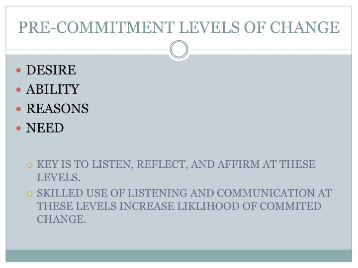 PRE-COMMITMENT LEVELS OF CHANGE