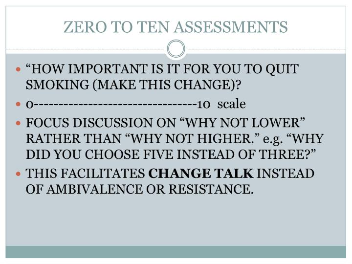 ZERO TO TEN ASSESSMENTS