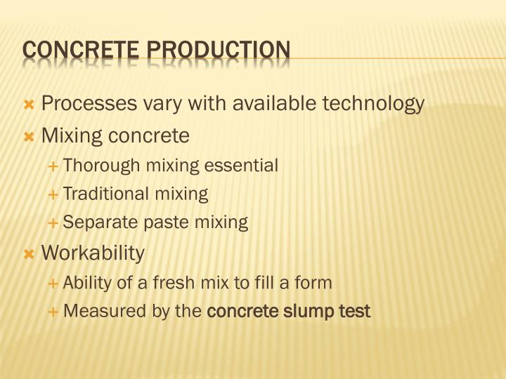 Processes vary with available technology