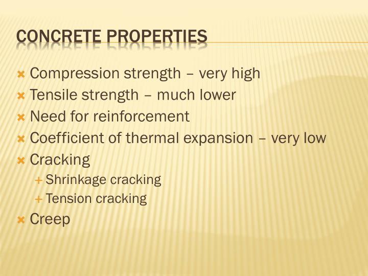 Compression strength – very high