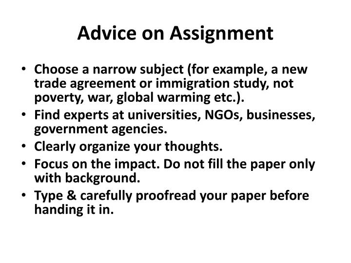 Advice on Assignment