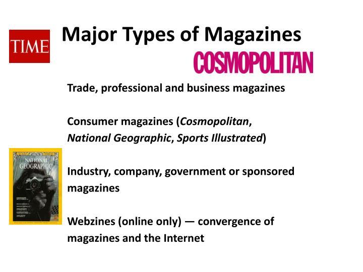 Major Types of Magazines