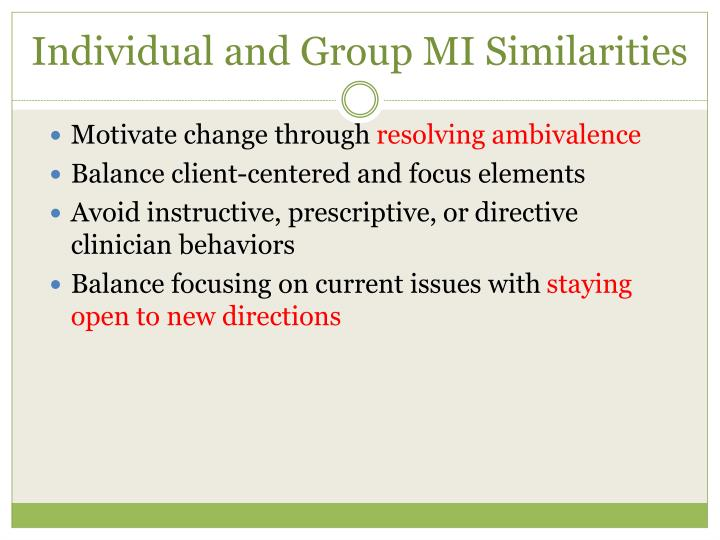 Individual and Group MI Similarities
