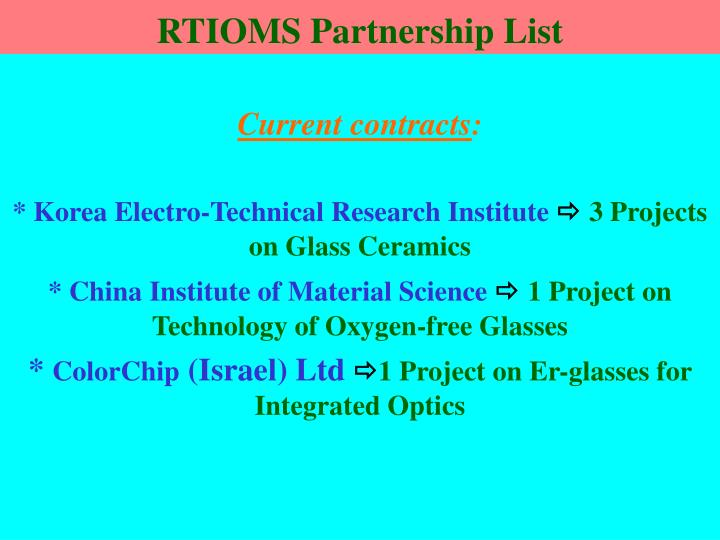 RTIOMS Partnership List