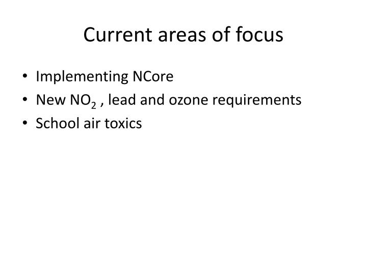 Current areas of focus