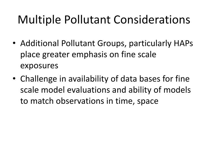 Multiple Pollutant Considerations