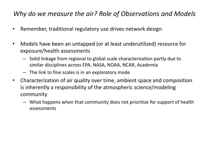 Why do we measure the air? Role of Observations and Models