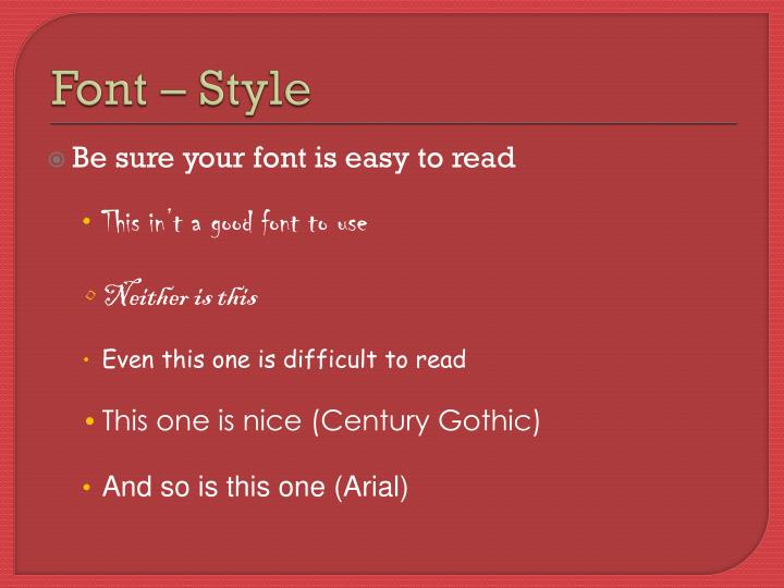Font – Style