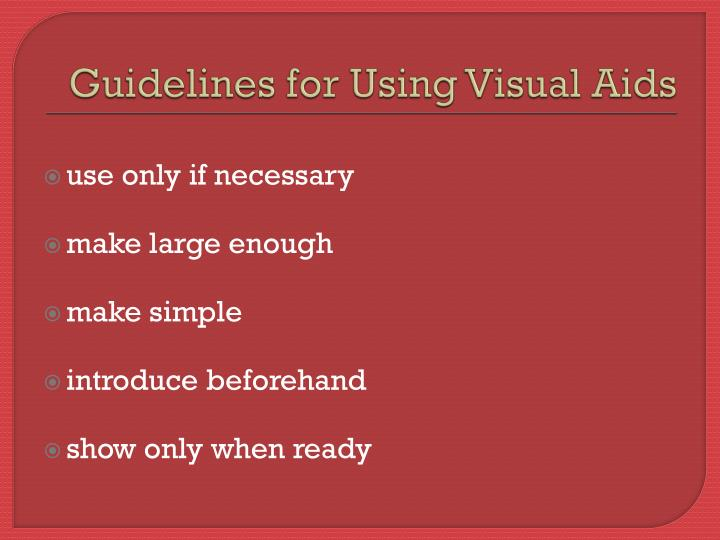 Guidelines for Using Visual Aids