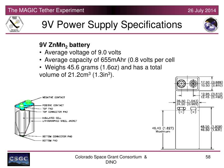 9V Power Supply Specifications