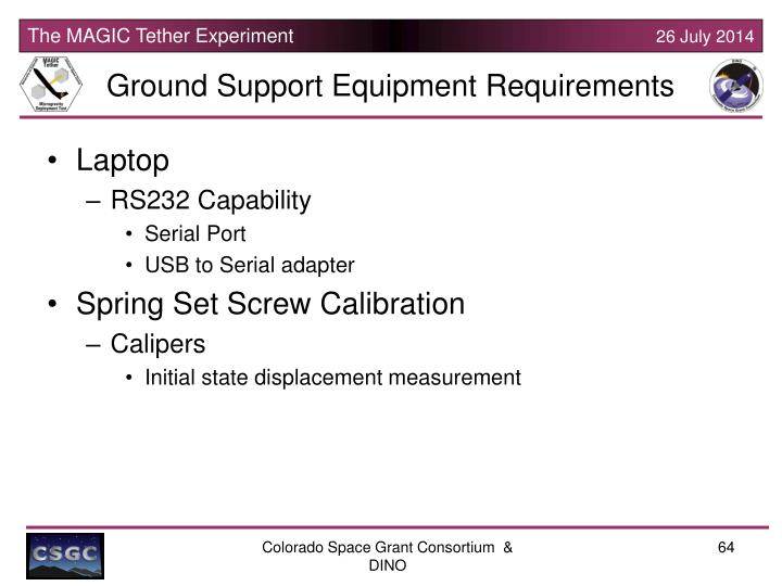 Ground Support Equipment Requirements