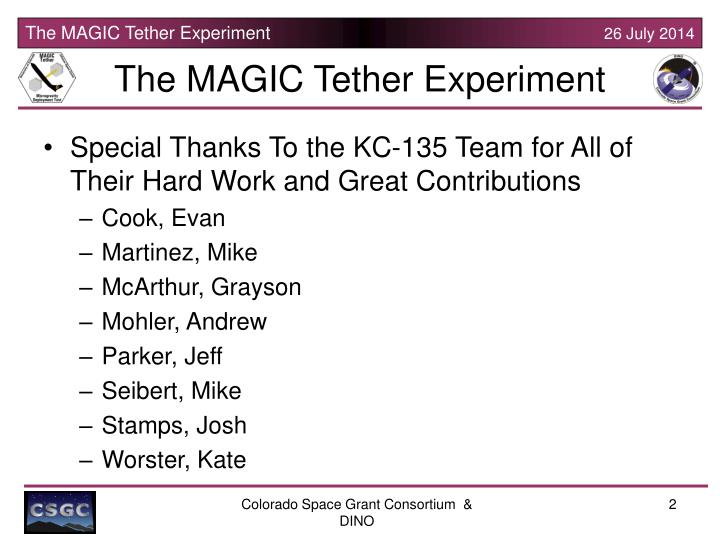 The magic tether experiment1
