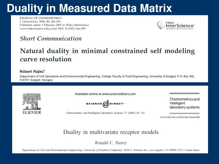 Duality in Measured Data Matrix